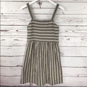 EUC Loft gray cream stripe midi cotton dress XS